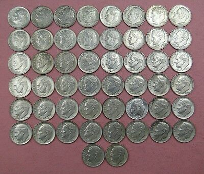 Roll Of (50) 1964 Roosevelt 90% Silver Dimes