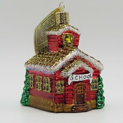 Red One Room School House Merck Old World Christmas Ornament 20007