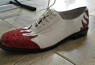 Mens shoes Costume Shoes Flame size 12 White/Red dress morris costumes wingtip
