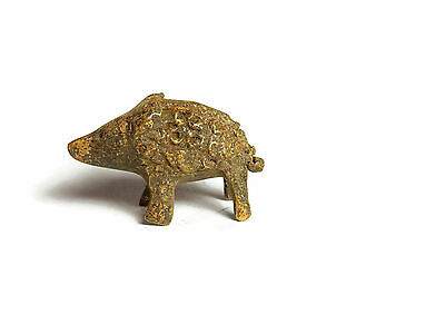 Rare Antique African Bronze Ashanti Gold Weight - a cute baby bush pig
