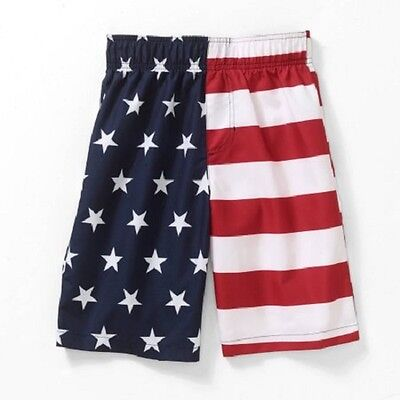 Boys USA American Flag Swim shorts Swimsuit board lined NEW boy's Size 4-18