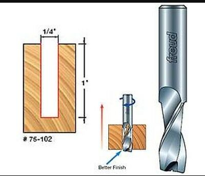 "New Freud 75-102 1/4"" Up Spiral Solid Carbide Double Flute Router Bit"