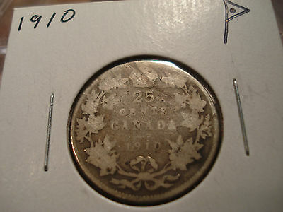 1910 Canada circulated 25 cent coin - silver Canadian quarter