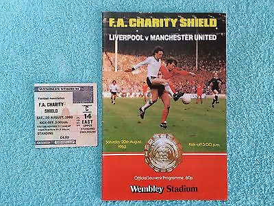 1983 - CHARITY SHIELD PROGRAMME + MATCH TICKET - LIVERPOOL v MANCHESTER UTD
