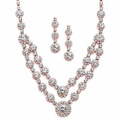 Mariell Blush Rose Gold 2-Row Rhinestone Crystal Necklace Earrings Set for Prom,