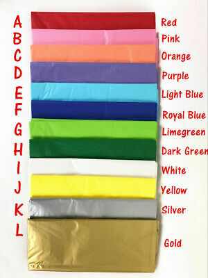100 Sheets Coloured Tissue Paper Gift Wrapper DIY Craft Paper Wedding Birthday