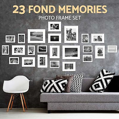New Multi 23PCS Aperture Wall Photo Frames Picture Set Collage Art Home White