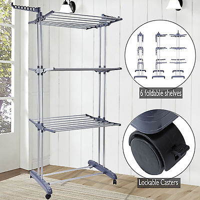 Foldable 3 Tier Clothes Airer Laundry Dryer Rack Indoor Outdoor Dry Rail Hanger
