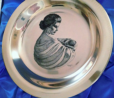 "Vintage Plate-Wall Art-Solid -Sterling -Silver- Franklin Mint 8"" Round-New"