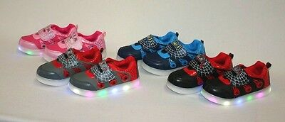 Brand New Light Up led Boys Girls Kids Strap Led Sneaker Tennis Shoe size 10- 4