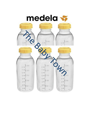 6x NEW MEDELA Breastmilk Collection Storage Feeding Bottles w/ lid 8oz sealed