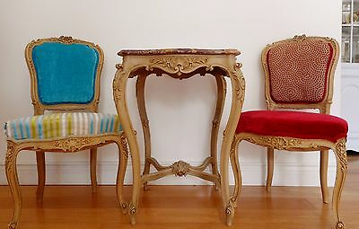 Antique French Louis XV Style Chairs & Table 19th Century