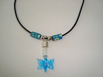 Custom made Name on Rice Black leather necklace & blue butterfly glass vial OOAK