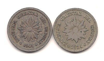 1901 & 1924 Uruguay Two Centesimos--Strong Details !!