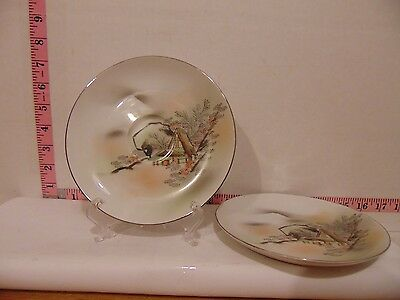 """Two 6 3/4"""" Saucers Kutani China House In The Trees"""