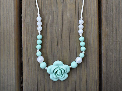Silicone Teething Necklace Mint Rose Pearls Sensory Chew Beads Nursing Mom Gift