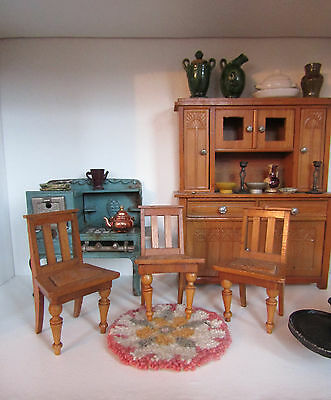 Antique SCHNEEGAS CHAIRS Lot 1800s Early 1900s Wood GERMANY Dollhouse Furniture