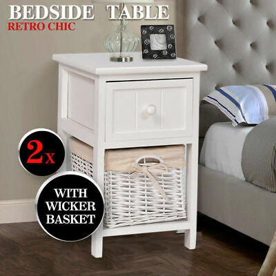 2PC Shabby Chic Bedside Home Bedroom Units Tables Drawers with Wicker Storage