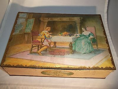 Antique Tin Box Colonial Man and Woman NBC Uneeda National Biscuit Co Nabisco