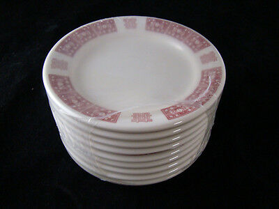 9 Buffalo China Tien Hu Crimson Bread Plate New Old Stock Factory Shrink Wrapped