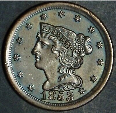 1853 Half Cent, Braided Hair, Gem, Copper, Uncirculated, Sale