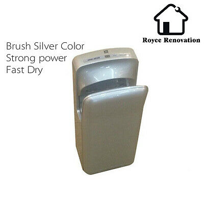 Brush Silver Color Jet Hand Dryer Toilet Wall Mounted Automatic Sensor Bathroom