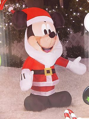 Disney Mickey Mouse Santa Airblown Self Inflatable LED 3.5 Ft Tall by Gemmy
