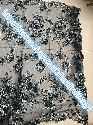 Embroidered  net Lace Dress Fabric  mesh lace/navy blue mesh sequin/floral