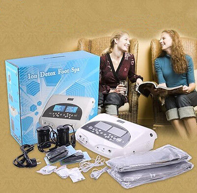 LCD Professional Dual Ion Detox Ionic Foot Bath Spa Clean Machine Infrared Belt
