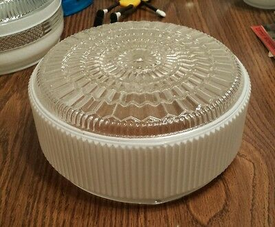 Vintage antique ceiling light cover clear milk glass light lighting scone 8""