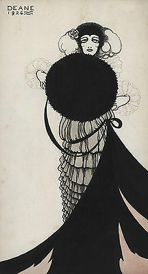 'Woman with Muff' 1920s fashion illustration, Ink and wash