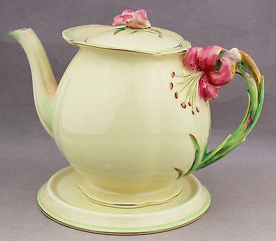 Royal Winton Large Tea Pot & Trivet Tiger Lily Vintage English China # 5773