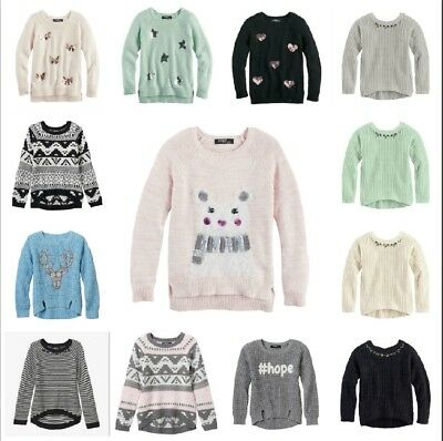 NWT $40 Girls Sugar Rush Applique Graphic Chunky Knit Sweater 7/8 10/12 14 16