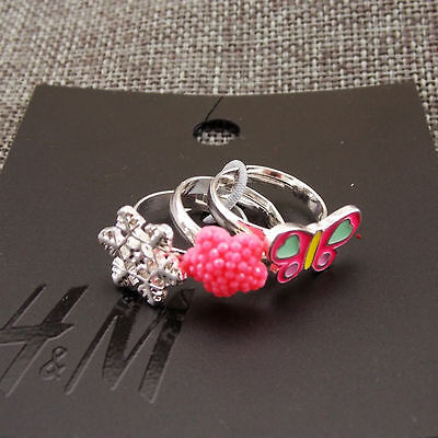 3pc set H&M Girls Kids Women's Adjustable Ring Snowflake/Butterfly New with Tag