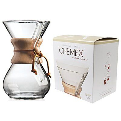 Chemex Classic Wood Collar and Tie Glass 6-Cup Coffee Maker with 100 Filter