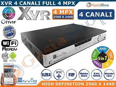 XVR DVR 5in1 AHD CVI TVI CVBS IP 4CH CANALI UTC 4MPX 2560x1440 WIFI CLOUD P2P