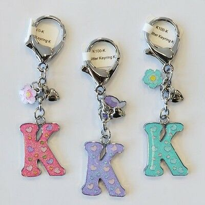 "Glitter ""K"" Alphabet Name Initial Key Ring Kids Christmas Gifts Free Shipping"