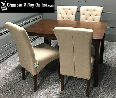 Dining Table And Chairs In Solid Dark Oak + 4 Deluxe Fabric Chairs New Modern