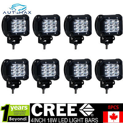 8 x4 inch 18W CREE LED WORK LIGHT BAR DRIVING PODS 12V 24V Off-Road UTE JEEP SUV