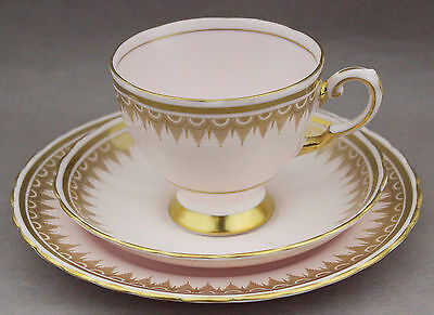 1950s Trio Tuscan 7045H Vintage Porcelain Cup Saucer Plate China Pink Gold Tea