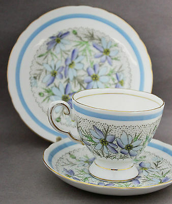 1950s Trio Tuscan Vintage Porcelain Cup Saucer Plate China Blue Daisy Tea C7601