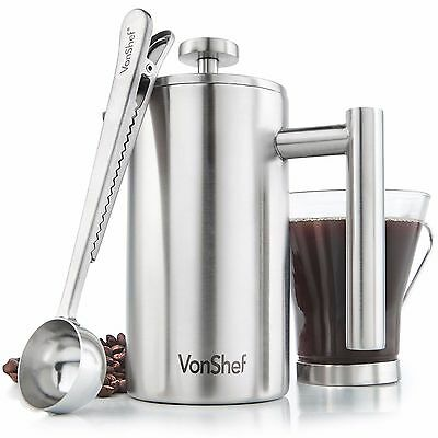 VonShef 3 Cup Double-Wall Stainless Steel French Press Cafetiere Coffee Maker