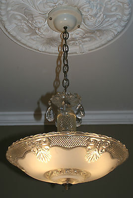 Antique vintage glass deco light fixture ceiling chandelier frosted