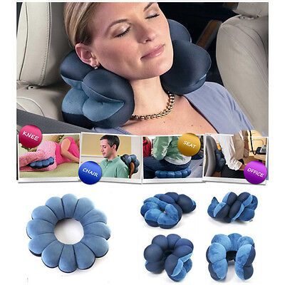 Blue Comfortable Travel Pillow Bluet Twist Neck Back Head Cushion Neck Massage