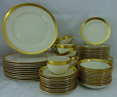 LENOX china GOLD BAND 86-1/2 green stamp 72-piece SET SERVICE for Twelve (12)