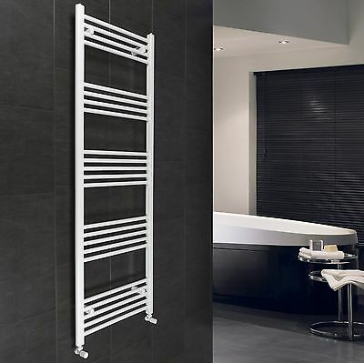 600 mm Wide 1600 mm High Flat White Heated Towel Rail Radiator Bathroom Design