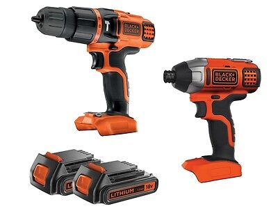 Black Decker BDCHIM18B-GB 18V Cordless Hammer Drill + Impact Driver Twin Kit New