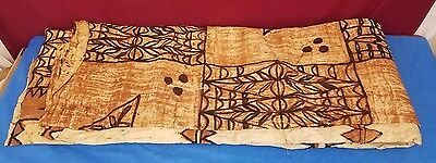 HUGE Vintage Polynesian Tapa Bark Cloth Brown Pattern 50's 8' x 8'