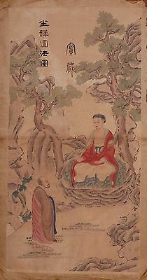Large Rare Old Chinese Hand Painting Buddhas Images Marked TangYin PD062