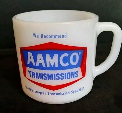 AAMCO TRANSMISSIONS Advertising Milk Glass Coffee Mug Federal Glass
